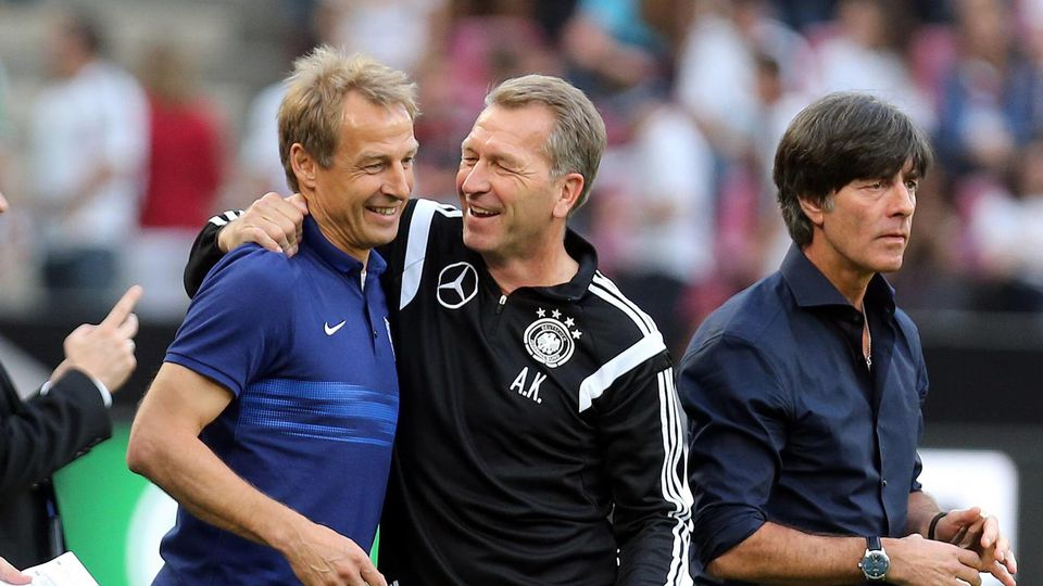 DFB Deutschland, Köln, 10.06.2015, Fussball, FIFA, Länderspiel, Deutschland DFB - USA (1:2): v.l. Jürgen Klinsmann (Trainer USA), Andreas Köpke (Torwart-Trainer DFB), Joachim Löw (Trainer DFB).DFB Germany Cologne 10 06 2015 Football FIFA internationa