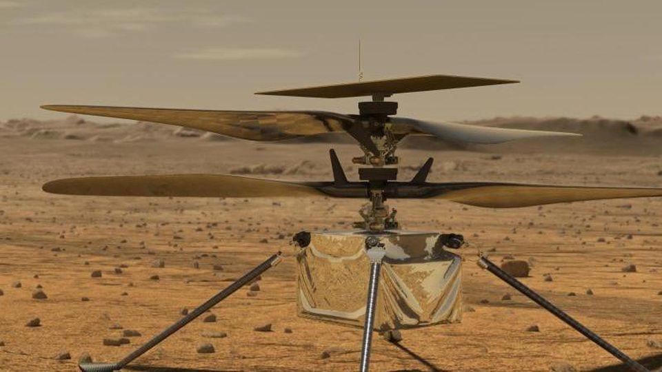"""Diese von der NASA zur Verfügung gestellte Illustration zeigt den Mini-Hubschrauber """"Ingenuity"""" auf der Marsoberfläche. Foto: Jpl-Caltech/NASA/ZUMA Wire/dpa"""