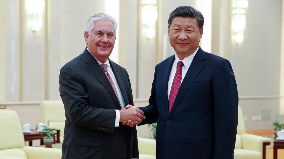 US-Außenminsiter Rex Tillerson und der chinesische Präsident Xi Jinping