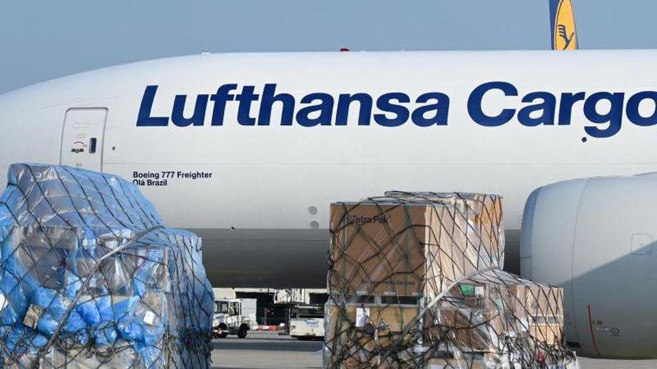 Eine Boeing 777 der Lufthansa Cargo. Foto: Arne Dedert/dpa/Archivbild