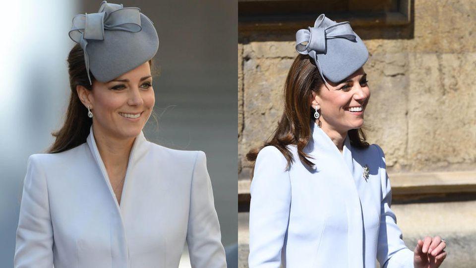 Herzogin Kate entschied sich Ostern 2019 (r.) für ein Ensemble, das sie bereits 2014 getragen hat