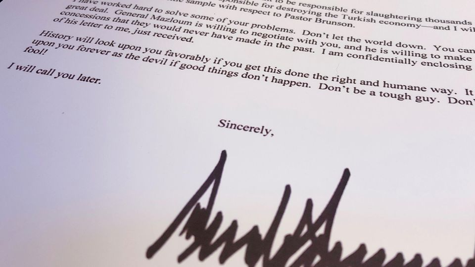 An October 9 letter from U.S. President Donald Trump to Turkey's President Tayyip Erdogan warning Erdogan about Turkish military policy and the Kurdish people in Syria is seen after being released by the White House in Washington, U.S. October 16, 20