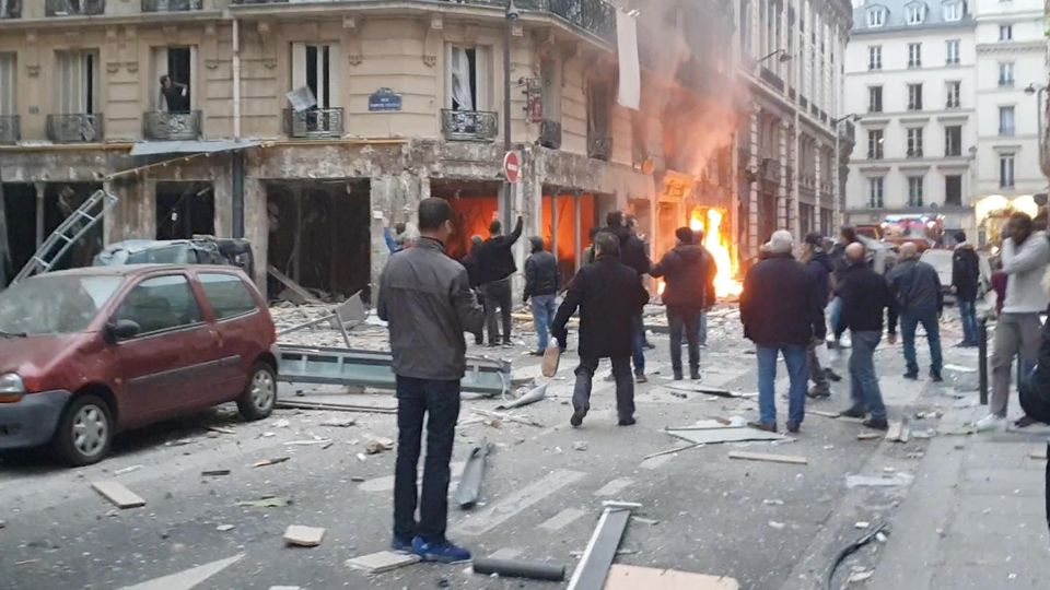 Fire burns at the site of an explosion at a bakery shop in Paris, France January 12, 2019, in this still image obtained from a social media video. David Bangura/via REUTERS THIS IMAGE HAS BEEN SUPPLIED BY A THIRD PARTY. MANDATORY CREDIT.