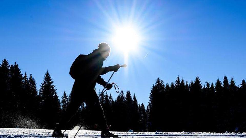 Ein Wintersportler auf Langlaufskiern fährt bei Sonnenschein auf der Piste. Foto: Swen Pförtner