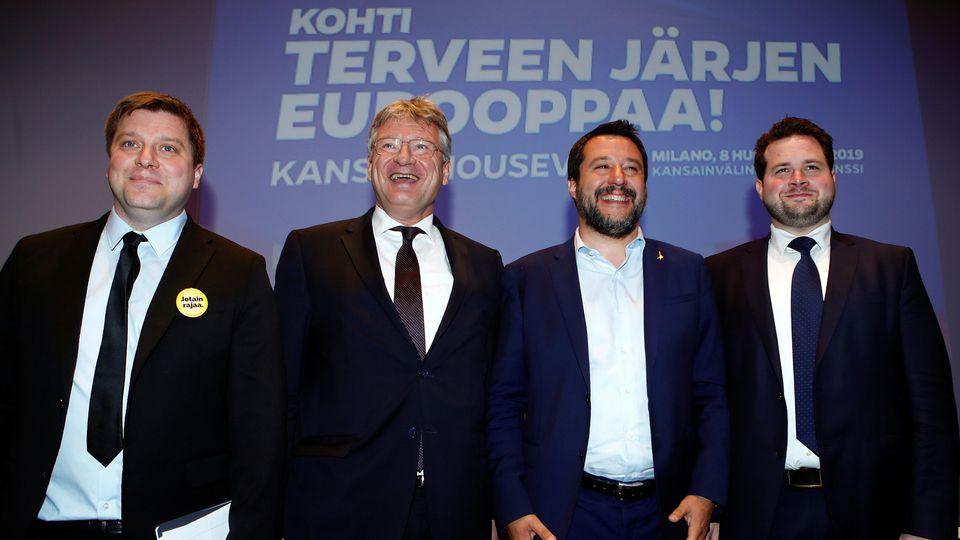 Italy's Deputy Prime Minister Matteo Salvini poses with Olli Kotro, Joerg Meuthen, Anders Vistisen
