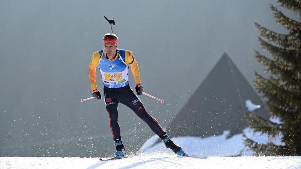 Arnd Peiffer peilt beim Weltcup in Nove Mesto die nächste Platzierung an. Foto: Sven Hoppe/dpa