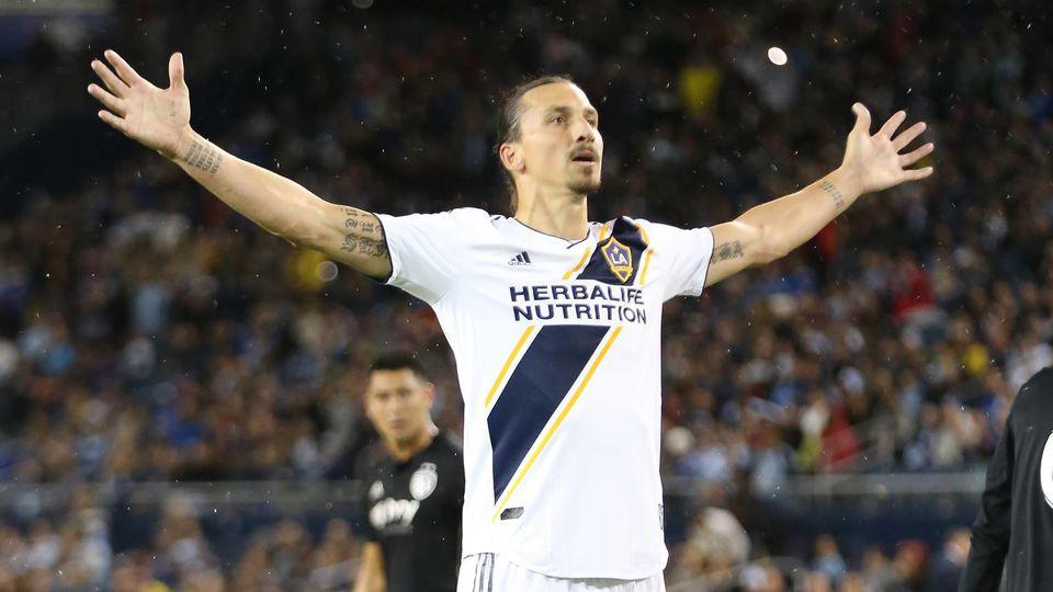 KANSAS CITY KS OCTOBER 06 Los Angeles Galaxy forward Zlatan Ibrahimovic 9 celebrates after sc