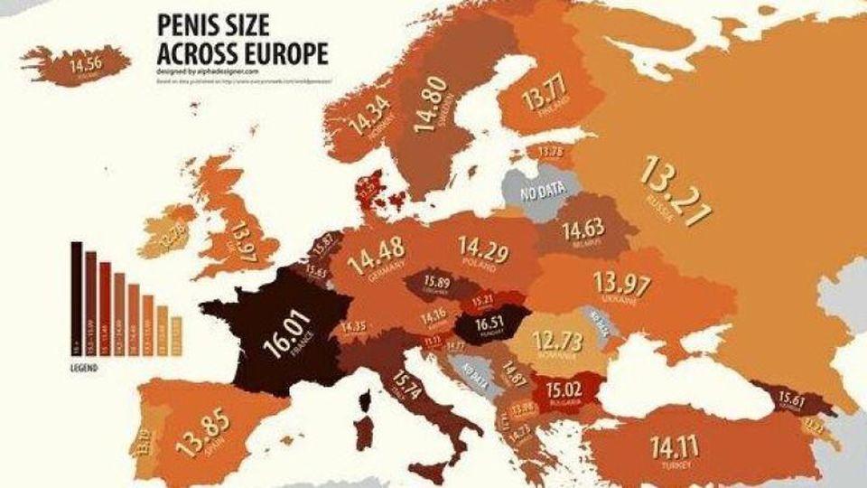 Diese Karte zeigt die durchschnittliche Penisgröße in jedem europäischen Land