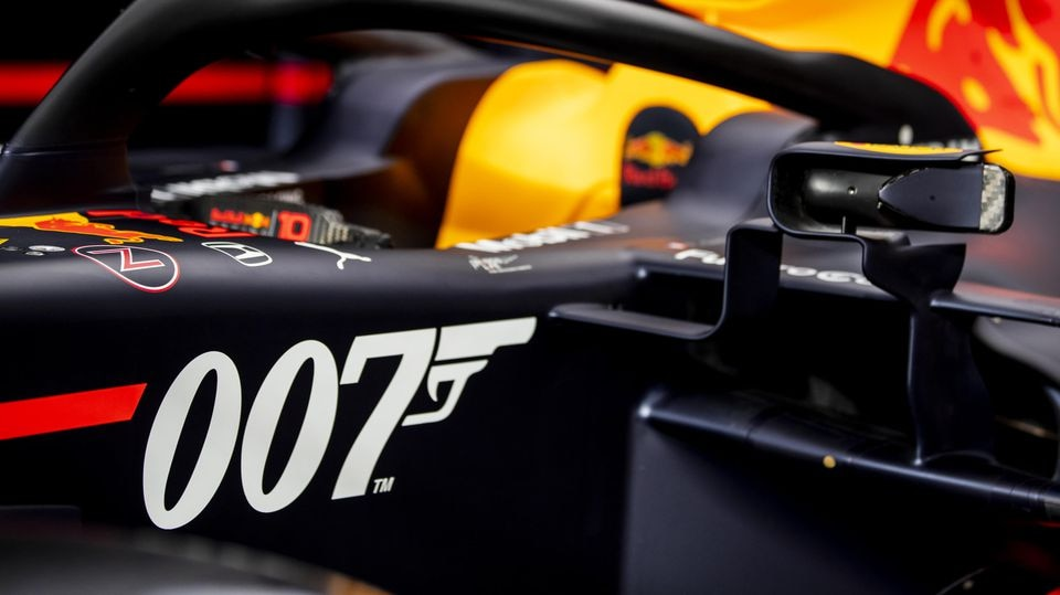 NORTHAMPTON, ENGLAND - JULY 10: The 007 special livery of the Red Bull Racing RB15 is seen in the garage during previews ahead of the F1 Grand Prix of Great Britain at Silverstone on July 10, 2019 in Northampton, England. (Photo by Mark Thompson/Gett