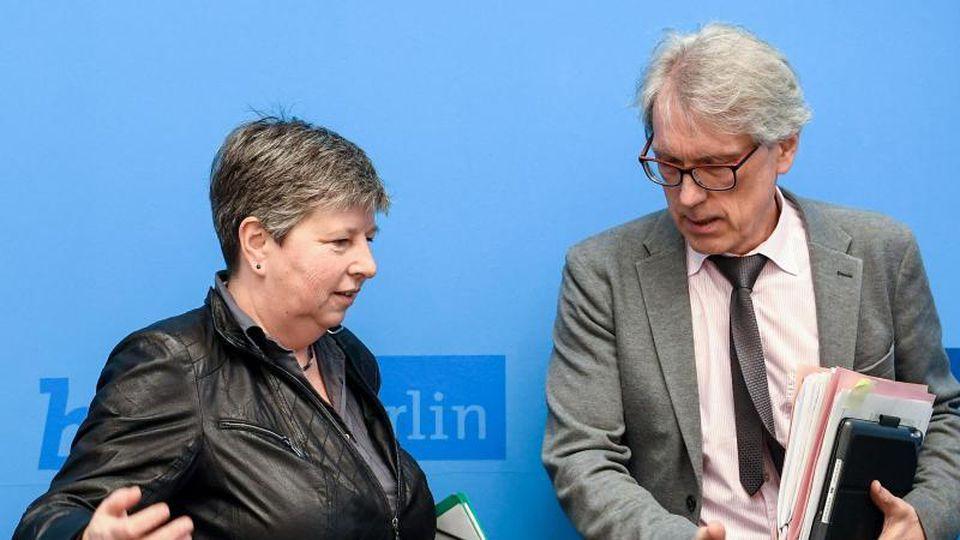 Katrin Lompscher (Die Linke und Matthias Kollatz (SPD). Foto: Britta Pedersen/dpa-Zentralbild/dpa