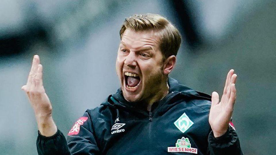 Trainer Florian Kohfeldt und seine Bremer treffen am Mittwoch im Nachholspiel des 24. Spieltages auf Eintracht Frankfurt. Foto: Uwe Anspach/dpa