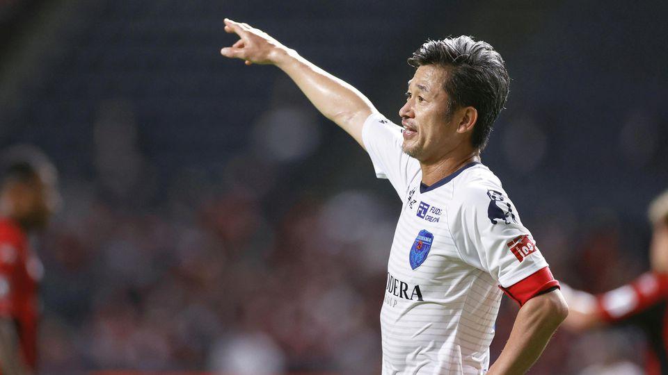 Yokohama FC's Japanese striker Kazuyoshi Miura gestures during J. League YBC Levain Cup soccer match against Hokkaido Consadole Sapporo in Sapporo, Japan