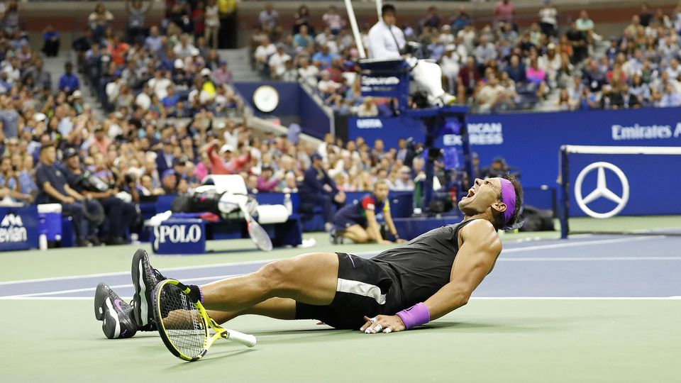 Sep 8, 2019; Flushing, NY, USA; Rafael Nadal of Spain celebrates after match point against Daniil Medvedev of Russia (not pictured) in the menÕs singles final on day fourteen of the 2019 US Open tennis tournament at USTA Billie Jean King National Ten