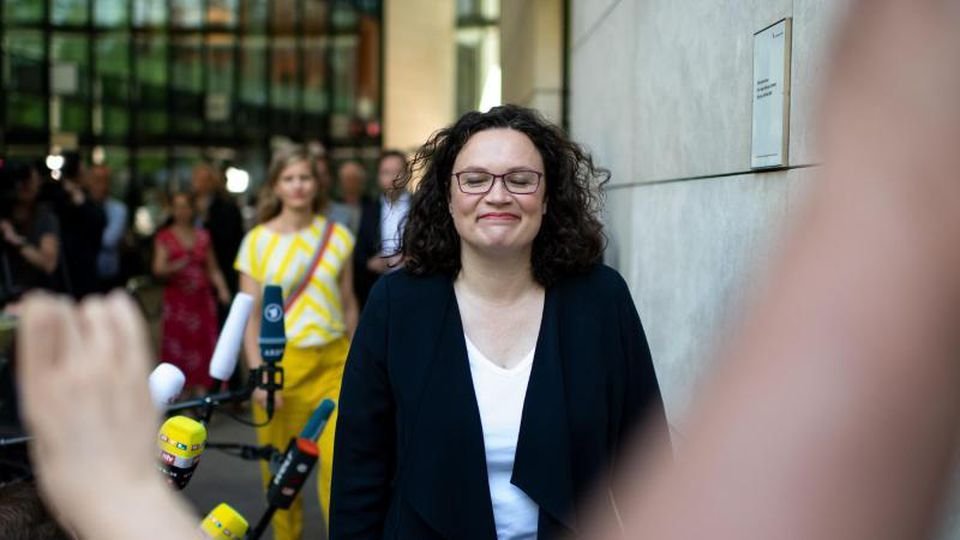 Andrea Nahles nach ihrem Rücktritt vom SPD-Parteivorsitz. Foto: Bernd von Jutrczenka/dpa