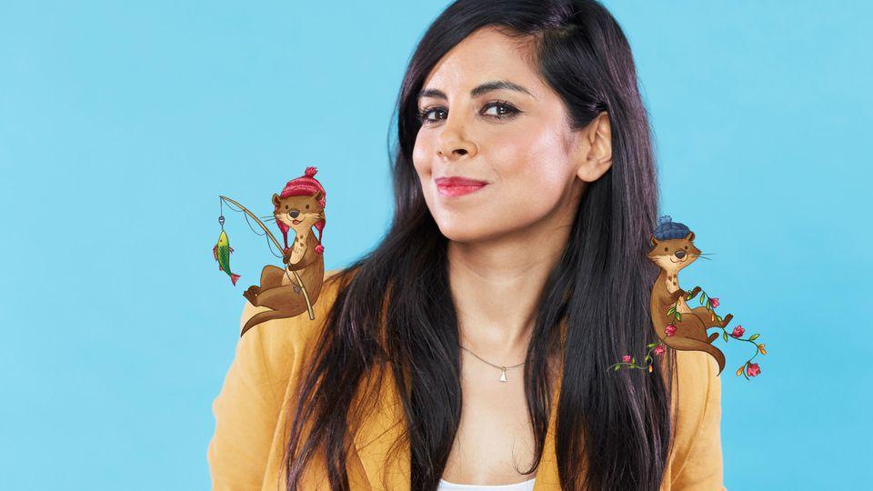 Collien Ulmen-Fernandes mit ihren beiden Kinderbuchfiguren Lotti und Otto - oder Otto und Lotti?