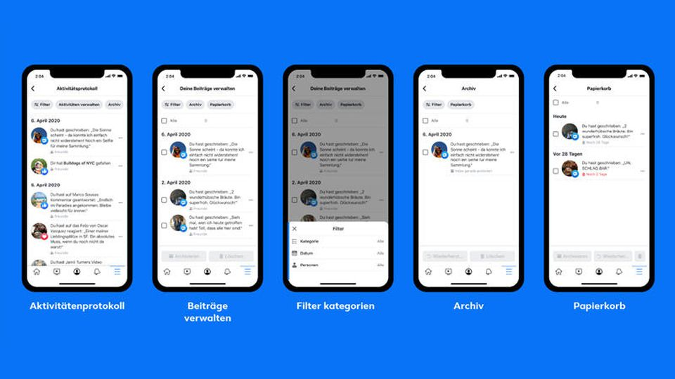 Die neue Archivierfunktion von Facebook soll das Löschen von Beiträgen vereinfachen.