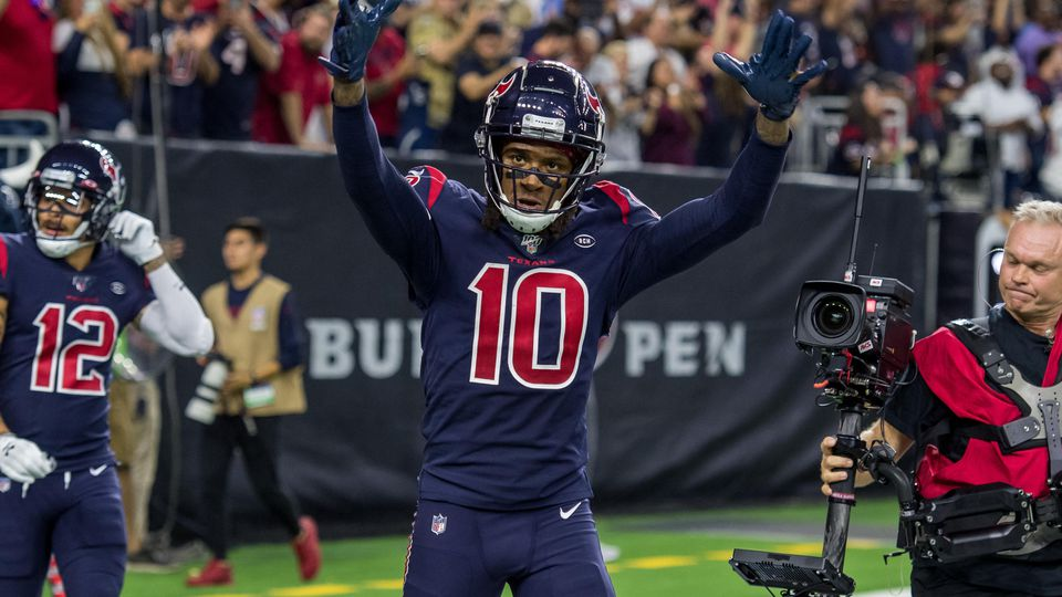 November 21, 2019: Houston Texans wide receiver DeAndre Hopkins (10) celebrates his touchdown catch during the 4th quart