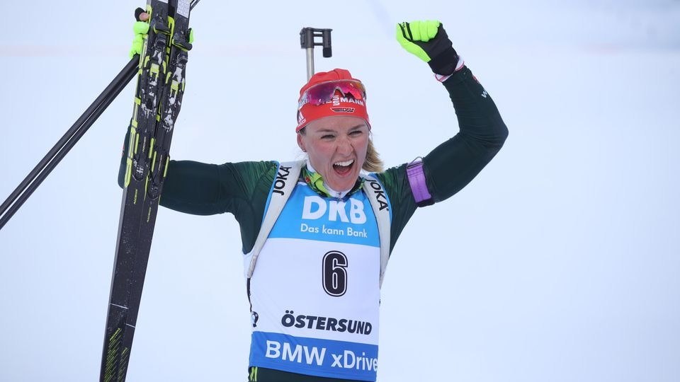 OSTERSUND, SWEDEN - MARCH 10: Denise Herrmann  of Germany celebrates winning the gold medal during the Women's 10km Pursuit race at the IBU Biathlon World Championships at Swedish National Biathlon Arena on March 10, 2019 in Ostersund, Sweden. (Photo