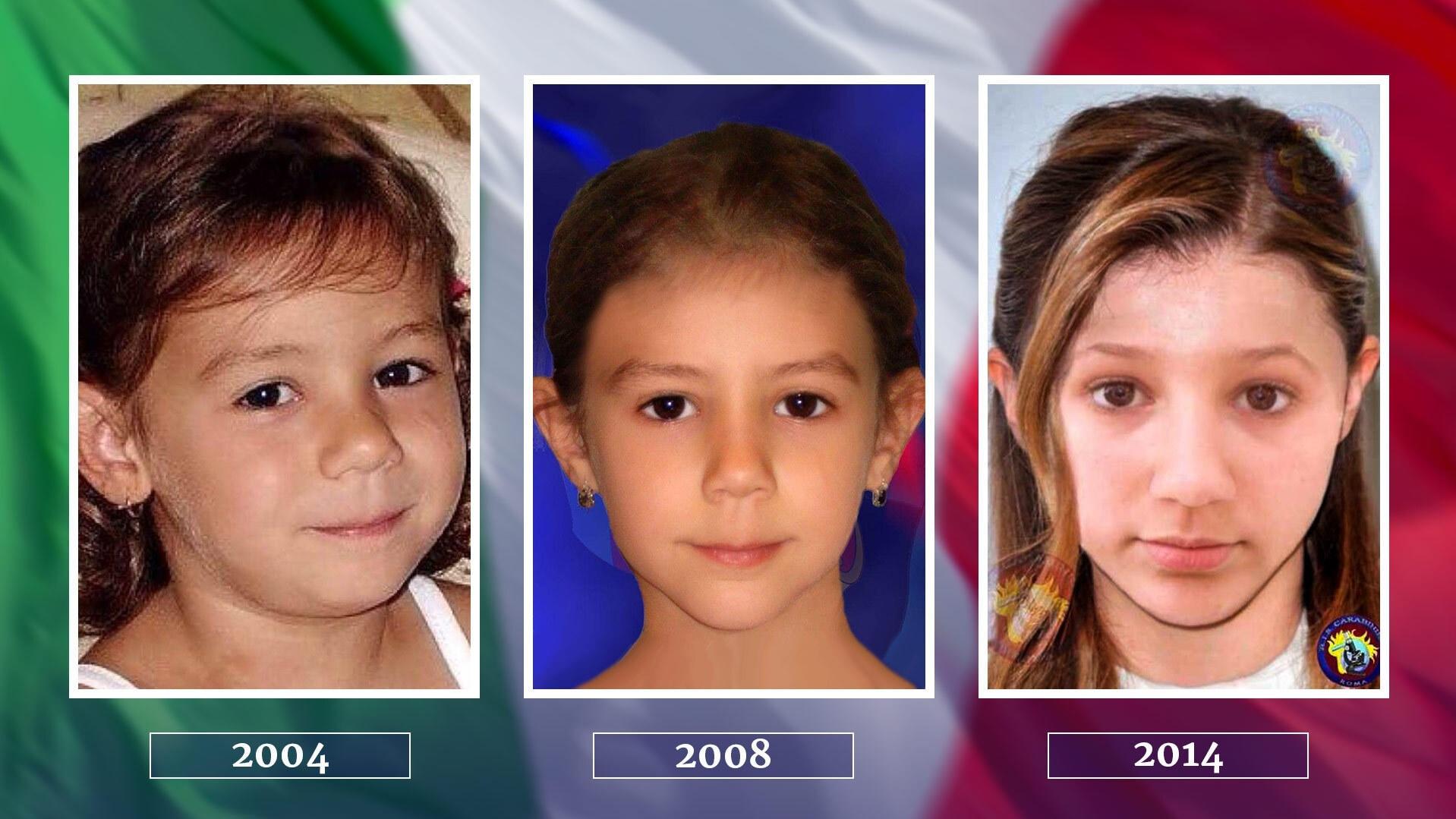 So könnte Denise Pipitone sich im Laufe der Jahre verändert haben: 2008 und 2014 erstellten die italienischen Behörden via Aging-Verfahren Bilder mit einer Prognose des aktuellen Aussehens des vermissten Mädchens.