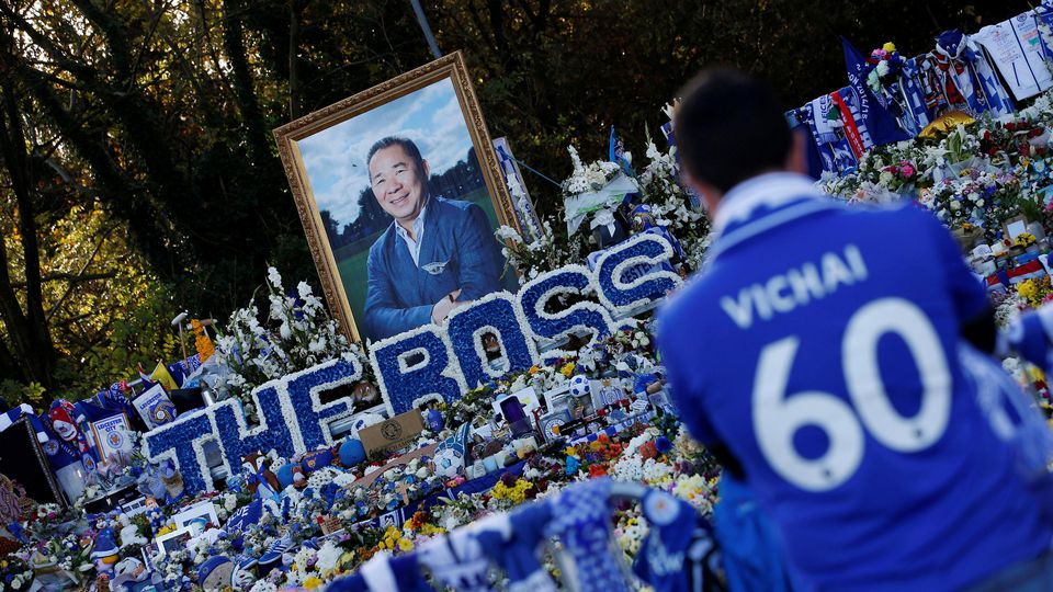 Soccer Football - Premier League - Leicester City v Burnley - King Power Stadium, Leicester, Britain - November 10, 2018  General view of tributes left outside Leicester City's King Power stadium, after the club's owner Thai businessman Vichai Srivad