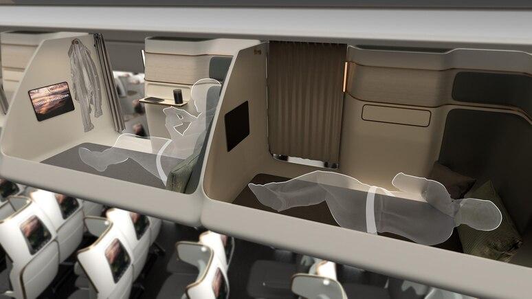 Die Idee: Das Fach für Gepäck über dem Sitz abschaffen und durch Schlafkabinen ersetzen.