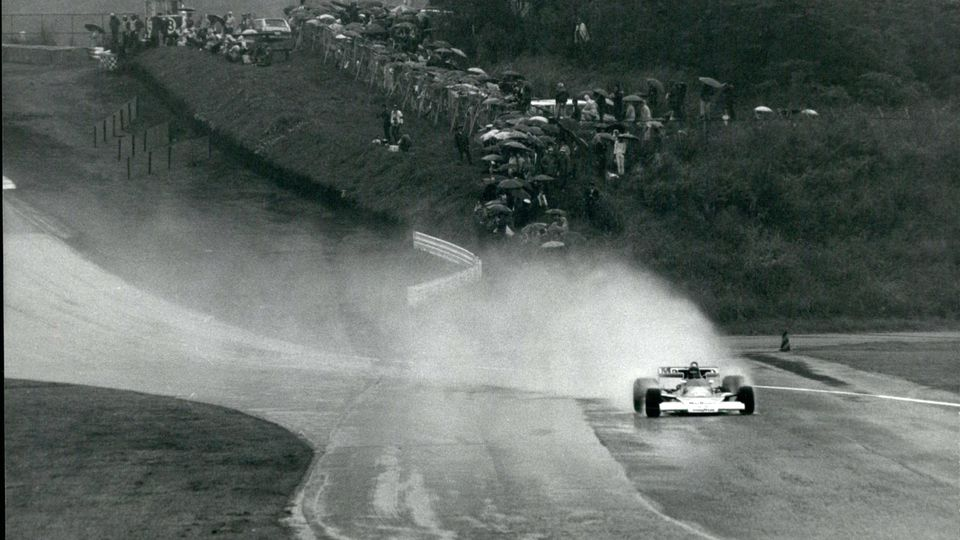 Oct. 10, 1976 - Andretti wins japan GP, but Hunt wins world racing title: Despite suicidal weather James Hunt of Britain clinched the world racing drivers championship at the Fuji speedway in Colombo, as he drove his Melaren into third place in the J