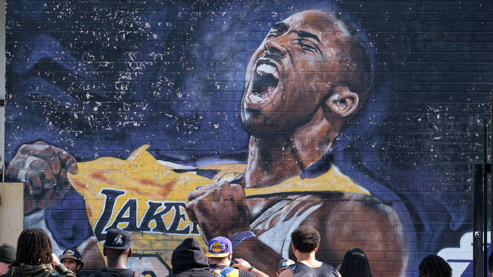 January 27, 2020, Los Angeles, California, USA: Laker fans gather in front of a mural of Kobe Bryant put up on Lebenon