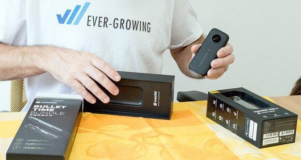 Action 360 Grad Kamera von Insta360 im Test - mit der schnellen Wi-Fi-Verbindung erhalten Sie vor der Aufnahme eine Live-Vorschau, die Sie mit Ihrem Smartphone steuern können