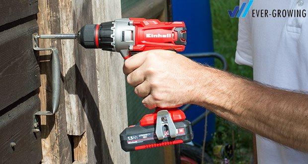 Der Einhell Akku-Bohrschrauber TC-CD 18-2 Li ist ein idealer Helfer im Haus, der Werkstatt und der Garage