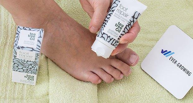 Australian Bodycare foot repair Fußreparaturgel im Test - um Juckreiz und Brennen zwischen den Zehen zu lindern, zweimal täglich auf die gereinigten und trockenen Zehen auftragen