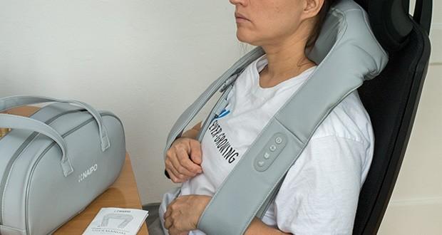 Naipo oCuddle Nackenmassagegerät im Test - 2 Richtungsmassagen: die Massagekugeln kneten sowohl im als auch entgegen dem Uhrzeigersinn