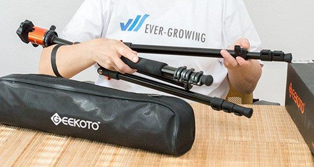 GEEKOTO Kohlefaser Stativ CT25Pro im Test - Flexibel Position: 4-teiliges Säulenbein mit fortschrittlich Drehverschlüssen-System für einfache und schnelle Höhenverstellung, damit Sie das Reisestativ in Sekunden von 62cm auf 200cm ausfahren können