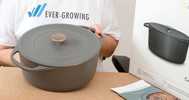 Springlane Gusseisen Bräter Cocotte im Test - die handlichen, großen Griffe verteilen das Gewicht gleichmäßig