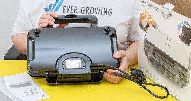 Emerio XXL Sandwichtoaster im Test - mit 900 Watt Leistung bereiten Sie in kurzer Zeit Ihre Lieblings-Sandwiches zu