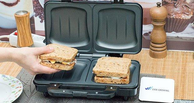 Emerio XXL Sandwichtoaster im Test - eignet sich für sämtliche Toastsorten bis hin zu den großen American Toast-Scheiben