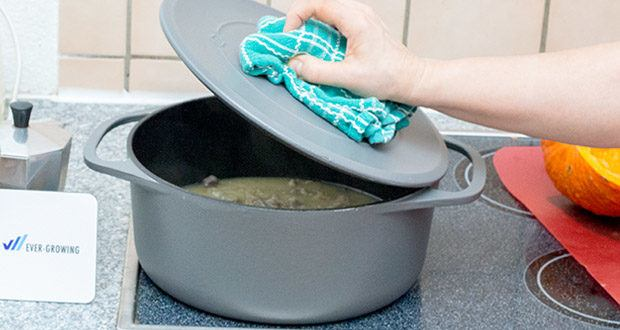Springlane Gusseisen Bräter Cocotte im Test - verdampfende Flüssigkeit verteilt sich bei geschlossenem Deckel gleichmäßig und deine Speisen werden kontinuierlich mit kondensierter Garflüssigkeit beträufelt
