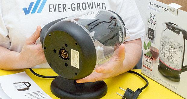 Emerio Glas Wasserkocher im Test - 360° Basis für komfortable Nutzung, für Links- & Rechtshänder, große Öffnung für einfache Reinigung