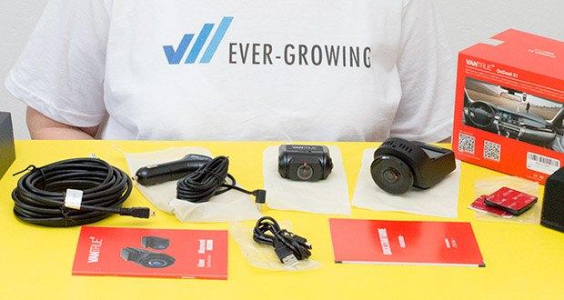VANTRUE S1 Dual Dashcam im Test - Lieferumfang: VANTRUE S1 Front- und Rückdashcam, Auto-Ladegerät mit eingebautem Mini-USB-Kabel (3m), Frontkamera- und Rückkamera Halterung und Aufkleber, USB Datei-Kabel (1m), Rückkamera Kabel (6m), Bedienungsanleitung, Quick-Start Anleitung