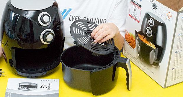 Emerio Heißluftfritteuse im Test - über eine Heizspirale wird Hitze erzeugt, die über einen Ventilator im Garraum verteilt wird und zirkuliert