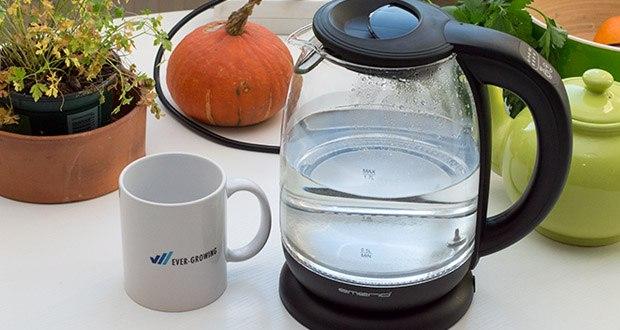 Emerio Glas Wasserkocher im Test - geschmacksneutrales und sehr hitzebeständiges Borosilikatglas