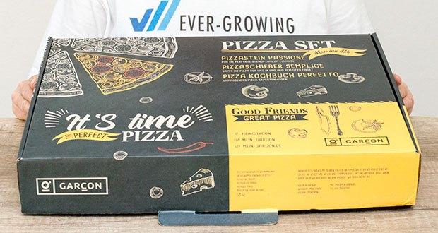 GARCON Pizzastein für Backofen und Gasgrill 3er Set im Test - komplettes Pizza Set mit Pizzastein, Pizzaschaufel und Pizza Kochbuch für die perfekte Steinofen Pizza