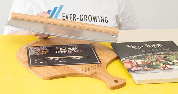 GARCON Pizzastein 4er Set im Test - das Pizzamesser liegt Dank dem durchgehenden Griff sicher in der Hand
