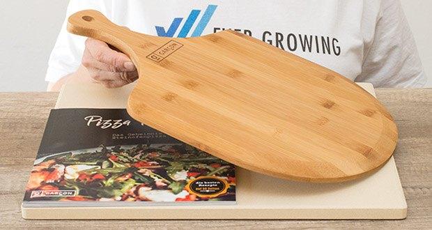 GARCON Pizzastein für Backofen und Gasgrill 3er Set im Test - der Pizzaschieber erlaubt ein einfaches Servieren der frisch gebackenen Pizza