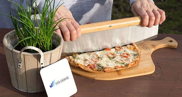 GARCON Pizzastein 4er Set im Test - das Pizzamesser Klinge ist sehr stabil & scharf und schneidet große wie auch kleine Pizzen mühelos