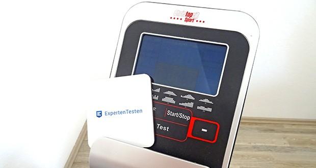 Christopeit Ergometer im Test - Backlit LCD Display, 6 Anzeigefenster mit gleichzeitiger Anzeige von: Zeit, Geschwindigkeit, Entfernung, ca. Kalorienverbrauch, Pedalumdrehung, Watt und Pulsfrequenz