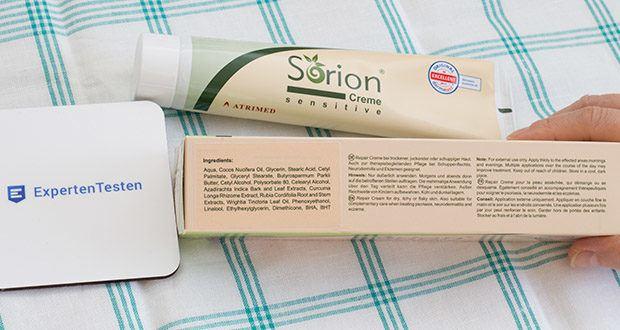 Sorion Creme Sensitive im Test - basiert auf einer sanften Öl-in-Wasser-Emulsion mit wertvoller Shea Butter, kaltgepresstem Kokosöl und natürlichen ayurvedischen Pflanzenextrakten aus Neem, Kurkuma, Sweet Indrajao und Färberwurzel