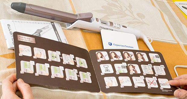 Rowenta CF3460 Lockenstab Premium Care Precious Curl im Test - Temperatur und Zeit wird bei Programmeinstellung automatisch angepasst