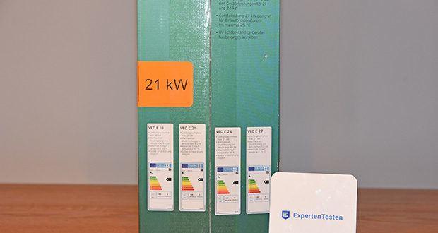 Vaillant Elektro-Durchlauferhitzer VED E 21/7 im Test - Energie- und Wasserersparnis von bis zu 30 % gegenüber hydraulischen Durchlauferhitzern