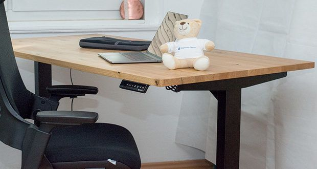 Ergotopia elektrisch höhenverstellbarer Schreibtisch im Test - starke und zuverlässige Motoren mit Kollisionsschutz, die dynamisch bis zu 80 kg bewegen