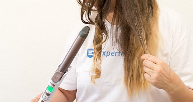 Rowenta CF3460 Lockenstab Premium Care Precious Curl im Test - der integrierte Timer gibt mit einem Signal an, wann die Locke fertig ist